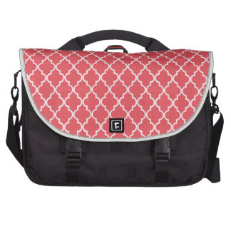 Persimmon Coral Pink And White Marocan Trellis Commuter Bags