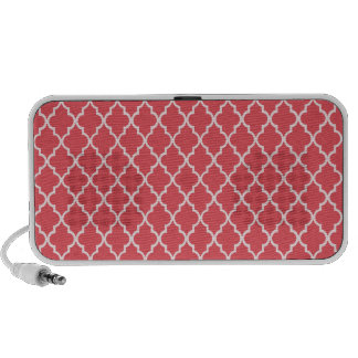 Persimmon Coral Pink And White Marocan Trellis Travel Speaker