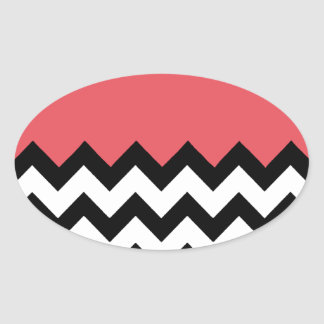 Persimmon Coral Pink Pattern On Large Zigzag Stickers
