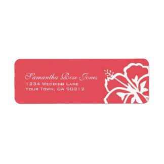 Persimmon Hibiscus Flowers Custom Address Label