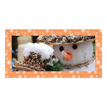 Disney Themed Persimmon Orange and White Snow Flurries Custom Card