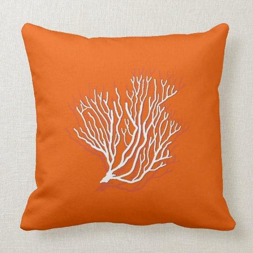 Persimmon Orange Sea Coral Decorative Throw Pillow Zazzle