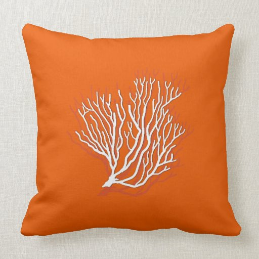Sea Coral Throw Pillows : Persimmon Orange Sea Coral Decorative Throw Pillow Zazzle