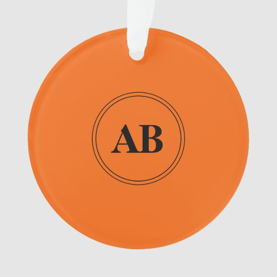 Persimmon Orange Solid Color With Monogram Ornament