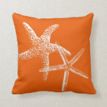 "Persimmon Orange Starfish Couple Decorative Pillow<br><div class=""desc"">Persimmon orange square,  throw pillow with two starfish in white outline.  Coastal home decor accent.</div>"