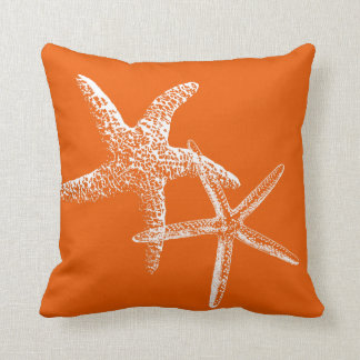 Persimmon Orange Starfish Couple Decorative Pillow