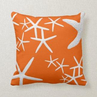 Persimmon Orange Starfish Decorative Throw Pillow Throw Pillow