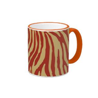 Persimmon Red and Khaki Zebra Print Mug