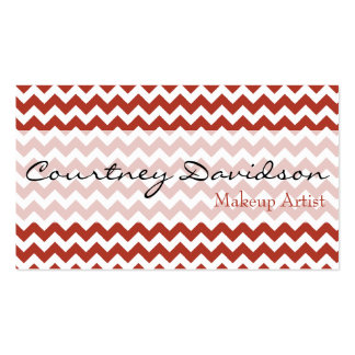 Persimmon Red Chevron Business Cards