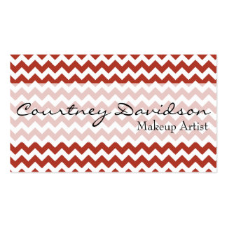 Persimmon Red Chevron Custom Business Cards
