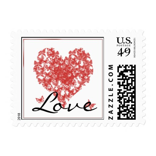 Persimmon Rose Butterfly Heart Love Postage Stamp