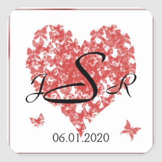 Persimmon Rose Butterfly Heart Monogram Sticker