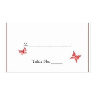 Persimmon Rose Butterfly Heart Wedding Place Cards Business Card