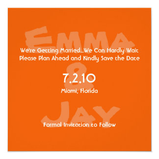 Persimmon Simply Color Save the Date 5.25x5.25 Square Paper Invitation Card