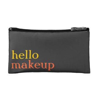 "Persimmon, Sunshine, Grey ""hello makeup"" MakeupBag Cosmetic Bag"