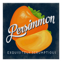 Persimmon Vintage Fruit Label Poster