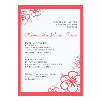 Persimmon & White Hibiscus Flowers Bridal Shower 5x7 Paper Invitation Card