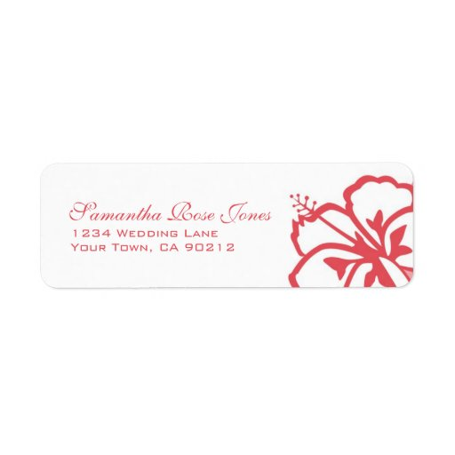 Persimmon & White Hibiscus Flowers Custom Address Label