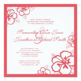 Persimmon & White Hibiscus Flowers Custom Wedding Card