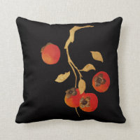 Persimmon with golden branch throw pillow