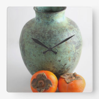 Persimmon With Vase Square Wall Clock