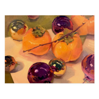 """""""Persimmons and Purple Ornaments"""" Art Postcard"""