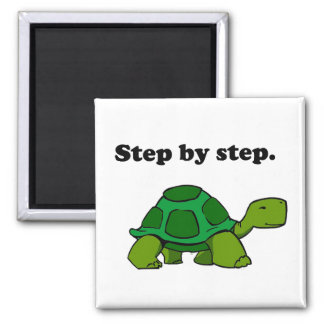 Persistent Winning Tortoise Turtle Step by Step 2 Inch Square Magnet