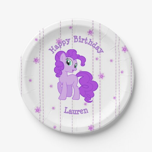 Persoanalized Purple Pony Birthday Party Plates