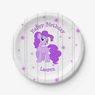 Persoanalized Purple Pony Birthday Party Plates
