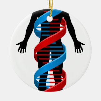 Person and Double Helix DNA Chromosome Strand Ceramic Ornament
