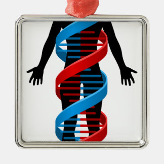 Person and Double Helix DNA Chromosome Strand Metal Ornament