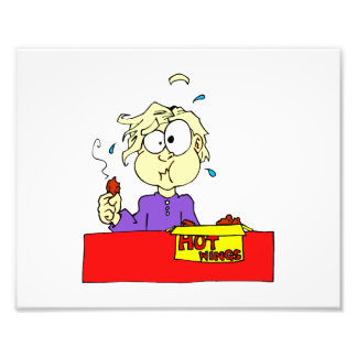 Person eating hot wings cartoon HOT Photographic Print
