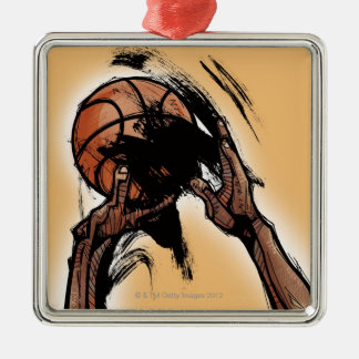 Person holding basketball metal ornament