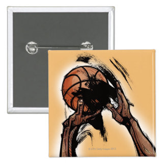 Person holding basketball pinback button