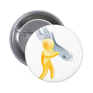 Person holding spanner pinback buttons