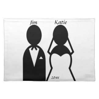 Person Icon Wedding Couple Silhouette Customize Cloth Placemat