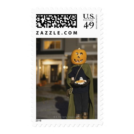 Person in Halloween costume with candy Postage