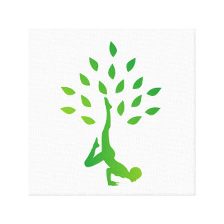 Person in yoga pose forming a healthy tree canvas print