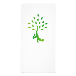 Person in yoga pose forming a healthy tree card