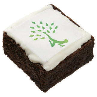 Person in yoga pose forming a healthy tree chocolate brownie