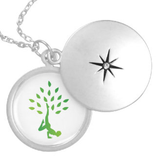 Person in yoga pose forming a healthy tree locket necklace