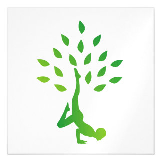 Person in yoga pose forming a healthy tree magnetic card