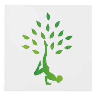 Person in yoga pose forming a healthy tree panel wall art