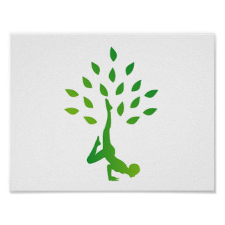 Person in yoga pose forming a healthy tree poster