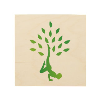 Person in yoga pose forming a healthy tree wood wall art