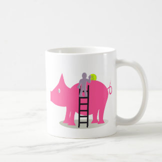 Person introducing currency in a giant pig coffee mug