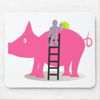 Person introducing currency in a giant pig