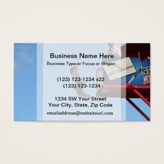 person jumping off of tower fair ride business card