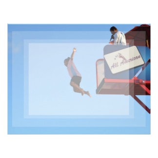 person jumping off of tower fair ride letterhead