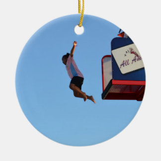 person jumping off of tower fair ride christmas ornaments